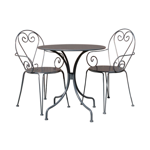 Steel Heart 3 Piece Bistro Set Grey