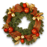 Decorative Collection Artificial Wreath with Ribbon and Leaves