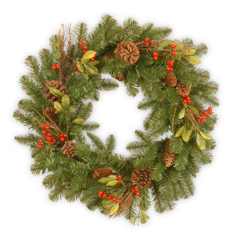 Decorative Collection Artificial Wreath with Berries, Leaves and Cones