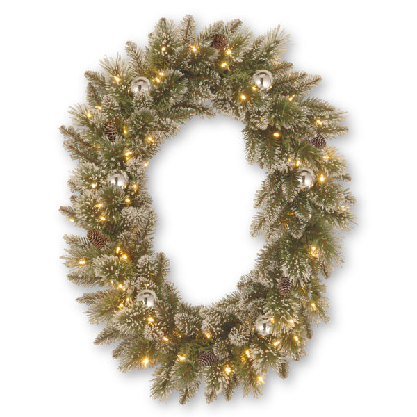 "Sparkling Pine 30"" Artificial Oval Wreath"
