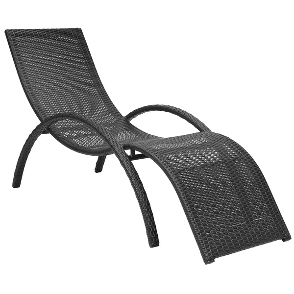 Wicker Rattan Curved Sun Lounger Dark Brown