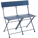 2 Seater Folding Metal Bistro Bench Garden Seat Chair - Navy
