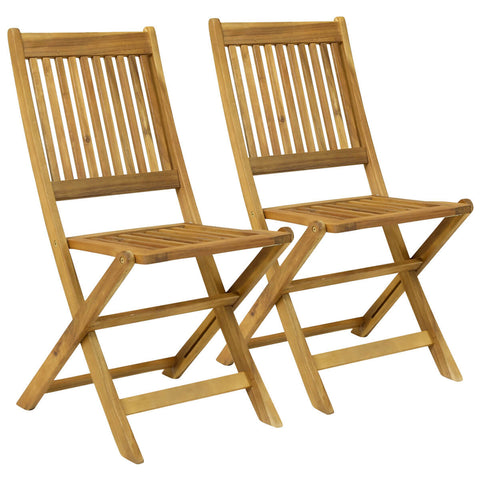 Pair Of Wooden Dining Foldable Chairs