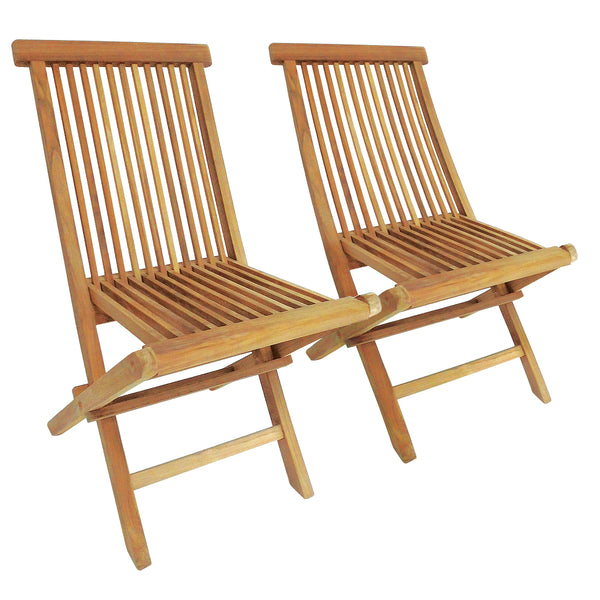 Pair Of Solid Wooden Teak Patio Chairs