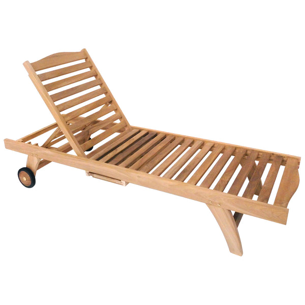 Solid Wooden Teak Reclining Sun Lounger