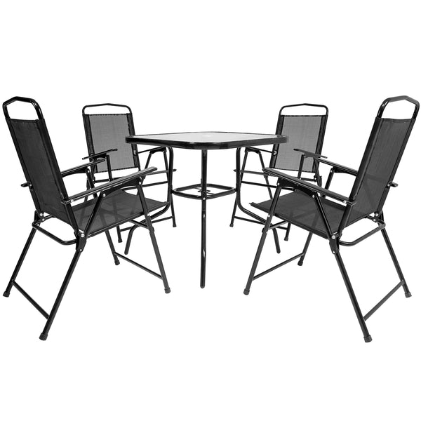 5 Piece 4 Seater Dining Set - Black
