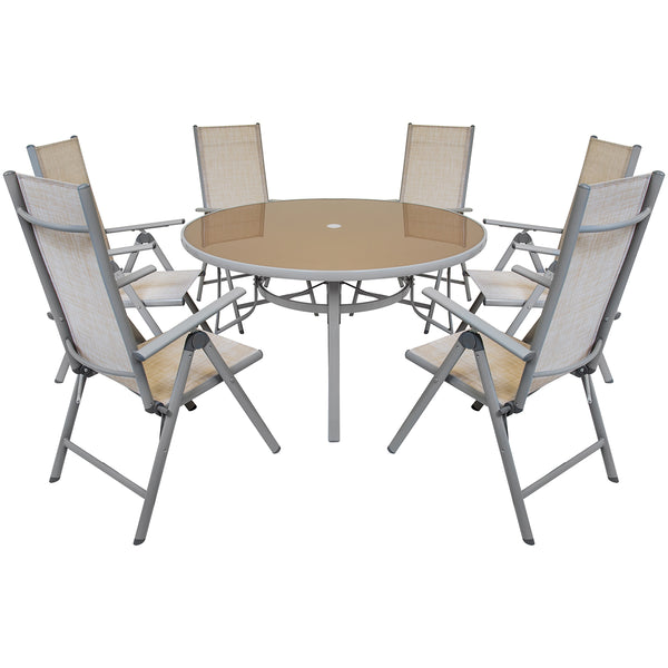6 Seater Round Table & 6 Chairs Dining Set