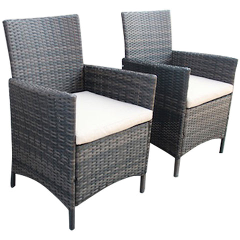Verona Pair Of Rattan Dining Chairs Brown