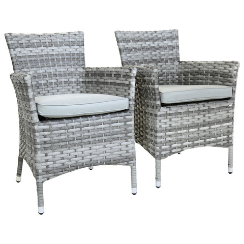 Milano Pair Of Rattan Dining Chairs - Light Grey