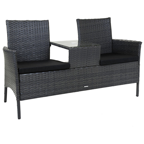 Amalfi Grey Rattan Love Seat Bench