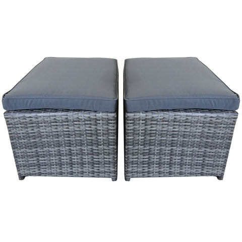 Napoli Pair Of Rattan Footstools - Grey