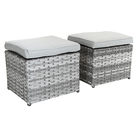 Milano Premium Pair Of Rattan Footstools - Light Grey