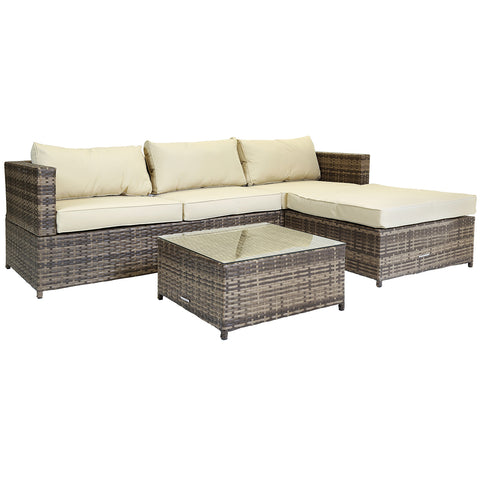 Verona L-Shaped 3 Seater Lounge Set - Brown