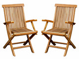 Pair Of Solid Wooden Teak Folding Arm Chairs