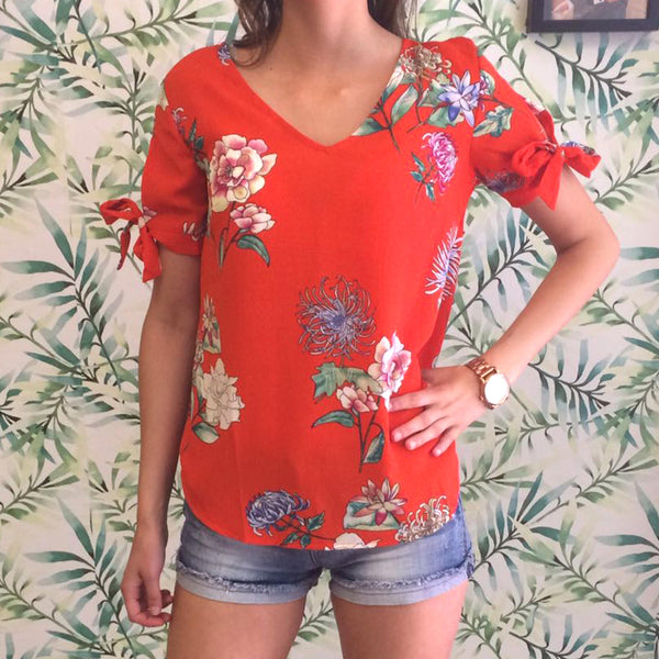 Floral Top Red