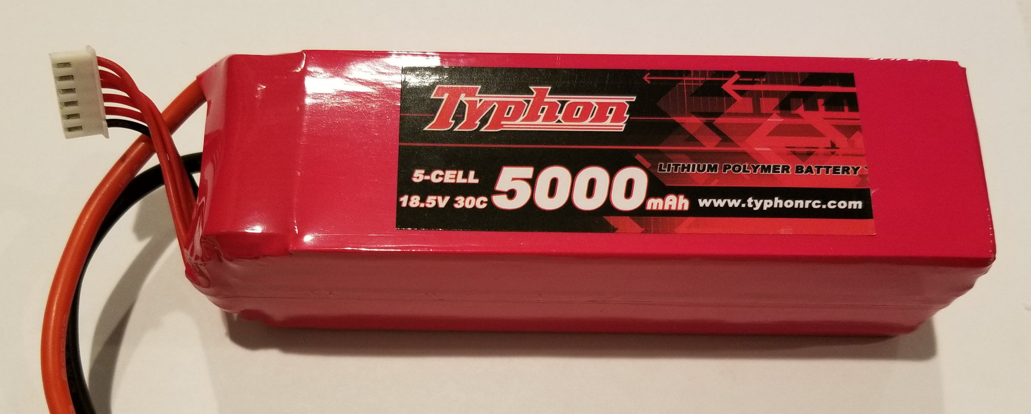 5 Cell 5,000mAh Litium Polymer Battery, 30C 18.5V nominal Typhon Grade A