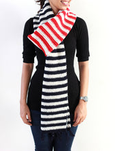Hand Crocheted Striped Pure Wool Unisex Scarf