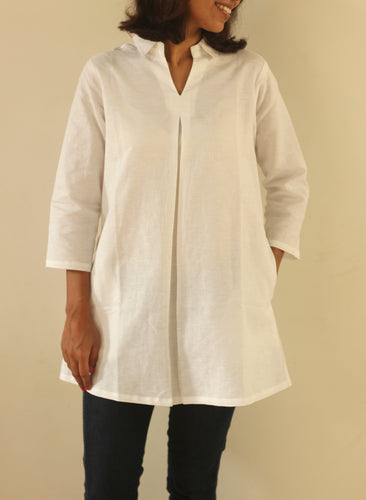 White Organic Cotton Tunic with Pocket