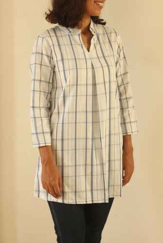 Blue-White Checkered Organic Cotton Tunic with Pocket