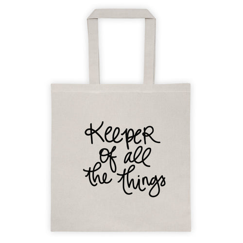 Keeper of All the Things Beige Tote Bag