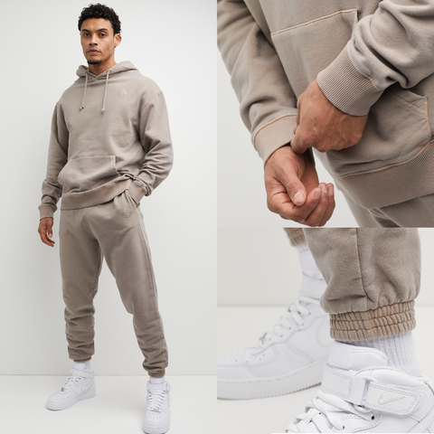 Mens Oversized Tracksuit in beige mocha shade. Hoodie and Joggers are made from premium fabric, cuff rib and drawstrings