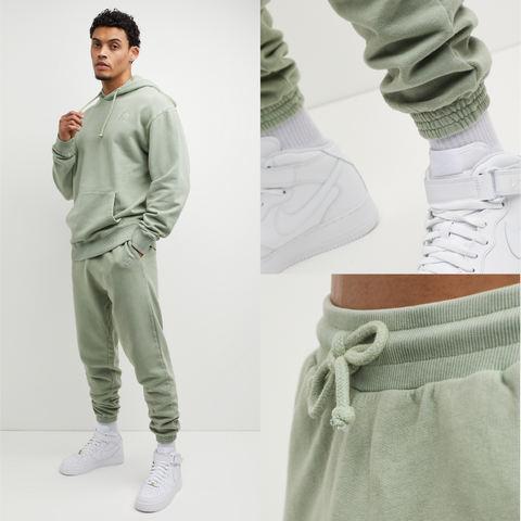 Mens Oversized Tracksuit in beige sage fern mint green. Hoodie and Joggers are made from premium fabric, cuff rib and drawstrings