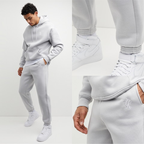 Mens Oversized Tracksuit in off white and silver. Hoodie and Joggers are made from premium fabric, cuff rib and drawstrings