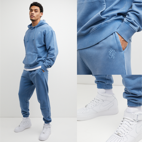 Mens Oversized Tracksuit in acid wash blue, river blue shade. Hoodie and Joggers are made from premium fabric, cuff rib and drawstrings