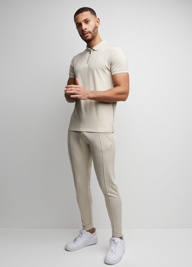 Gym King Ash Taped Polo - Sandstone