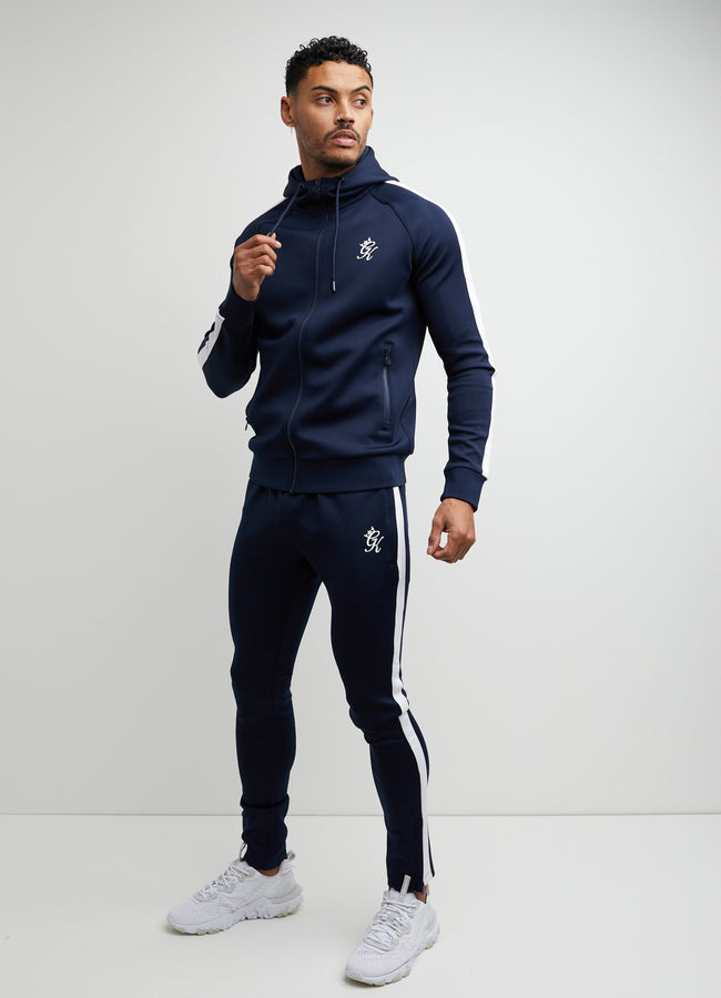 Gym King Basis Poly Tracksuit Bottoms - Navy/White