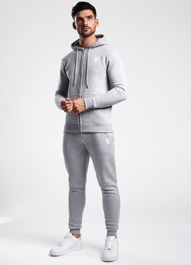 Gym King Basis Zip Through Hoodie - Grey Marl