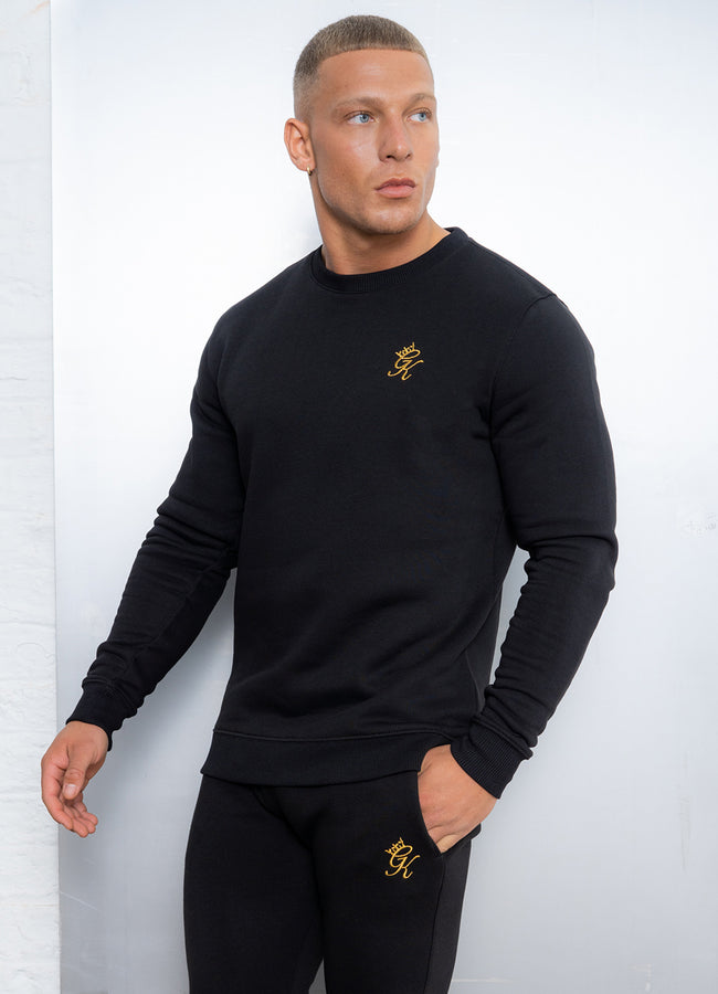 Gym King Basis Crew Neck Sweatshirt - Black/Gold