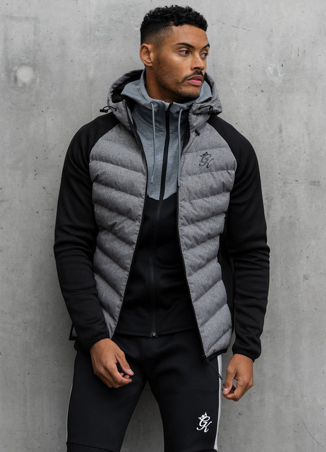 Gym King Bones Tech Jacket - Grey Marl/Black