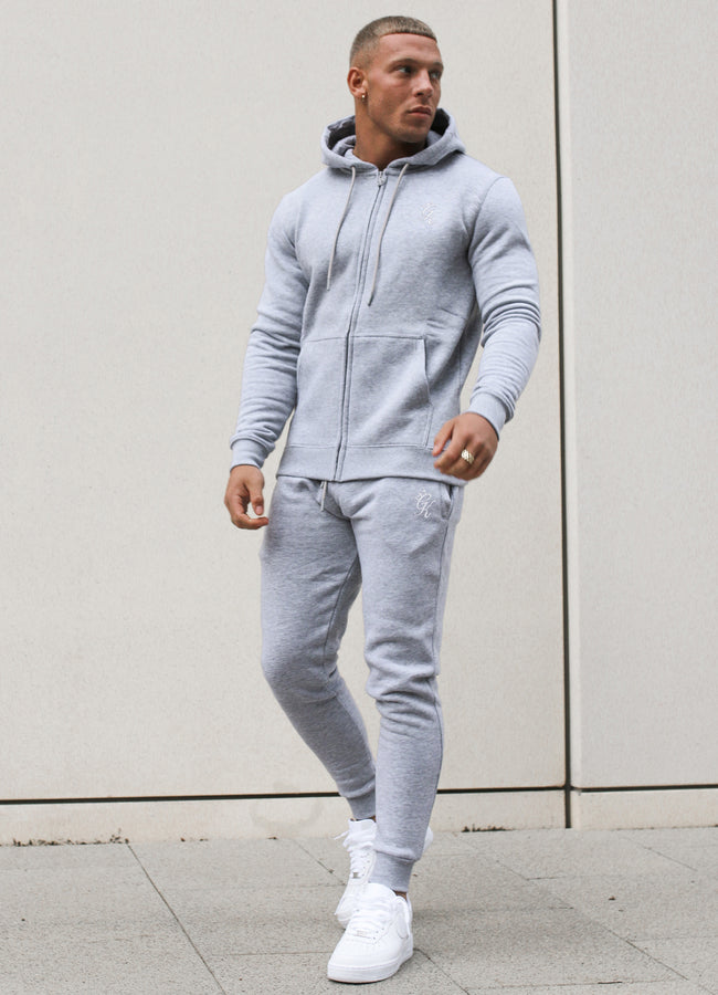 Gym King Basis Zip Though Hoodie - Grey Marl