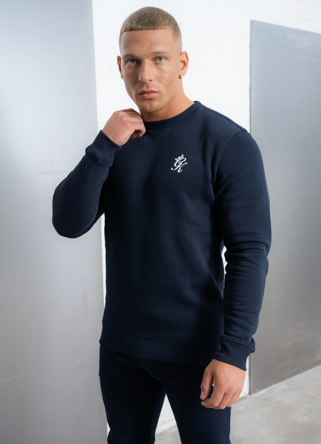 Gym King Basis Crew Neck Sweatshirt - Navy/White