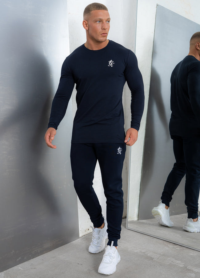 Gym King Basis Long Sleeve Tee - Navy/White