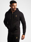 Gym King Basis Zip Through Hooded Top - Black/Gold