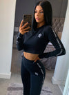 Gym King Taped Long Sleeve Crop Top - Black
