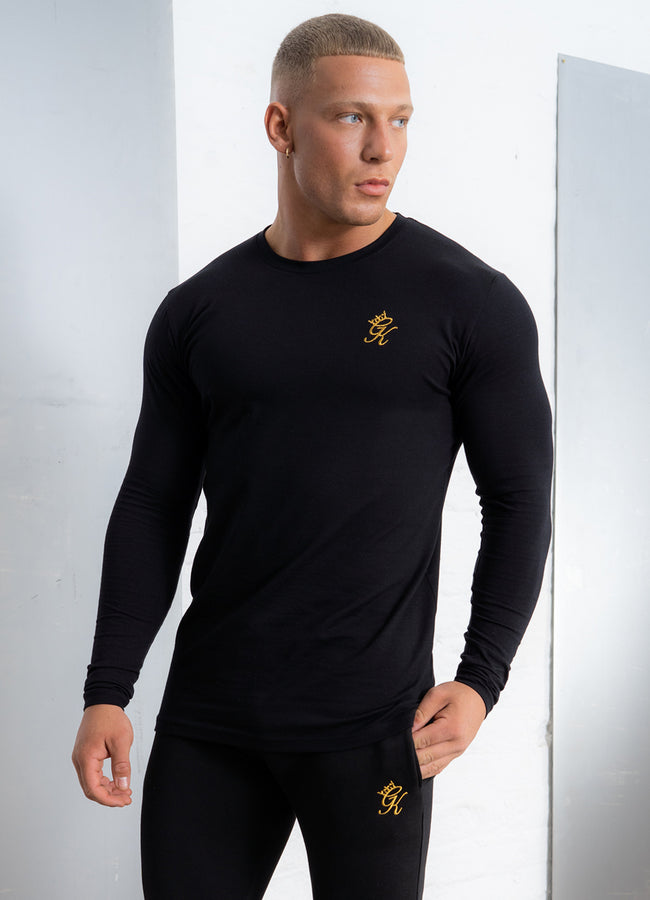Gym King Basis Longsleeve Tee - Black/Gold