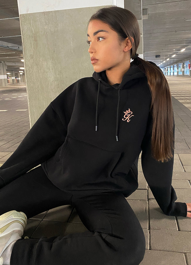 Gym King Slouch Overhead Hoodie - Black/Rose Gold