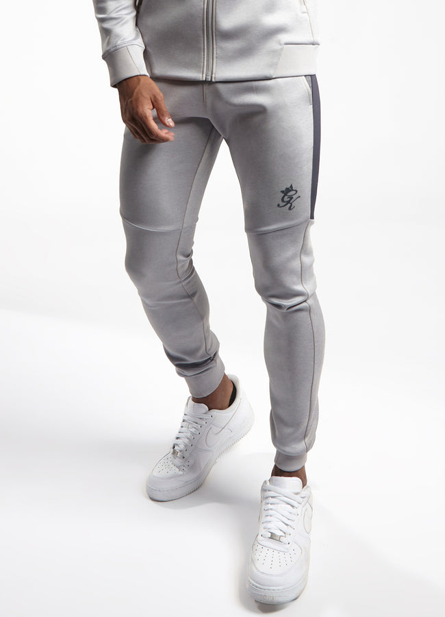 Gym King Core Plus Poly Tracksuit Bottoms - Grey Marl/Charcoal Marl