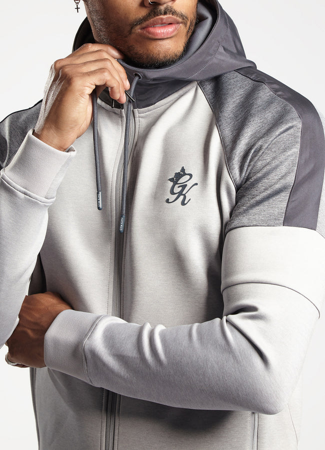 Gym King Contrast Core Plus Poly Tracksuit Top - Grey Marl/Charcoal Marl
