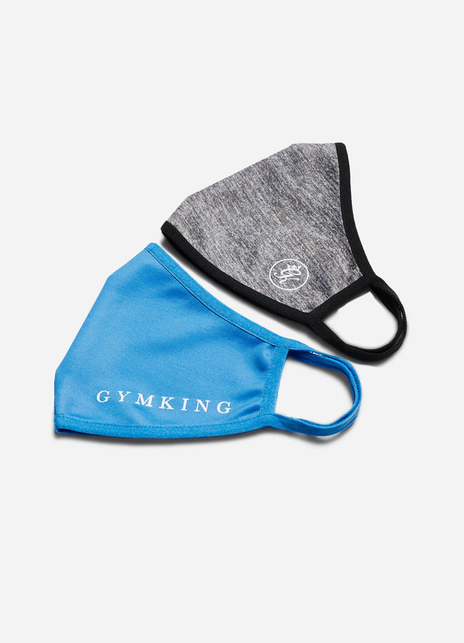 Gym King Nano Face Mask (2pk) - French Blue/Charcoal