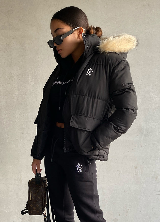 Gym King Fur Quilted Parka - Black