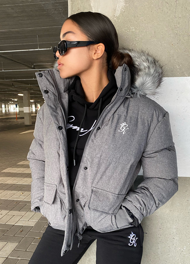 Gym King Fur Quilted Parka - Grey Marl