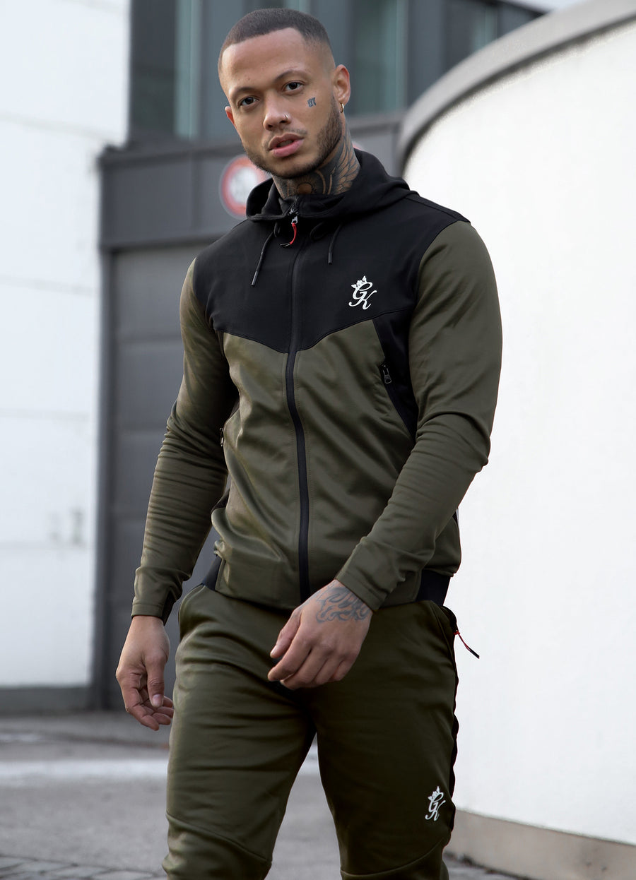 Gym King Sport Focus Tracksuit Top - Khaki/Black