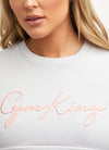 Gym King Sky Script Crop Crew - Microchip/Coral