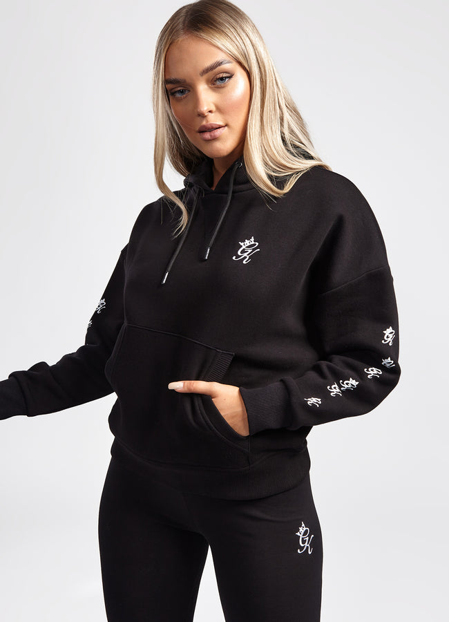 Gym King Graphic Boyfriend Hoodie - Black