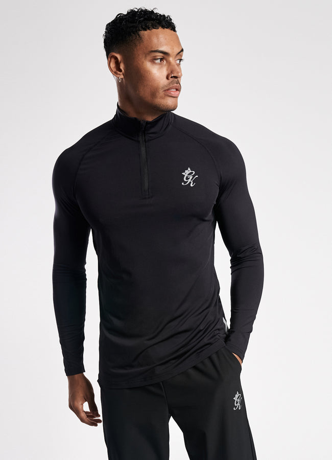 GK Sport Race 1/4 Zip Funnel Neck - Black