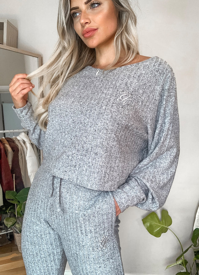 Gym King Ribbed Loose Fit Top - Grey Marl
